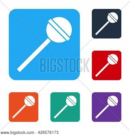 White Lollipop Icon Isolated On White Background. Food, Delicious Symbol. Set Icons In Color Square