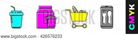 Set Coffee Cup To Go, Online Ordering And Delivery, Shopping Cart And Food And Online Ordering And D