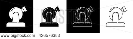Set Astronomical Observatory Icon Isolated On Black And White Background. Observatory With A Telesco