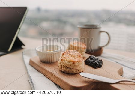 English Style Scones And Coffee For Work Break Time.