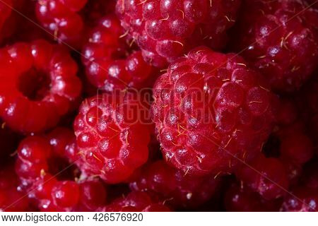 Raspberry Macro Background. The Texture Is Food. Ripe Raspberries In Close-up. The Concept Of Summer