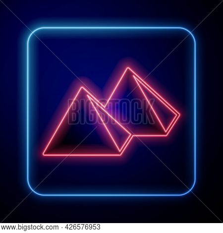 Glowing Neon Egypt Pyramids Icon Isolated On Black Background. Symbol Of Ancient Egypt. Vector