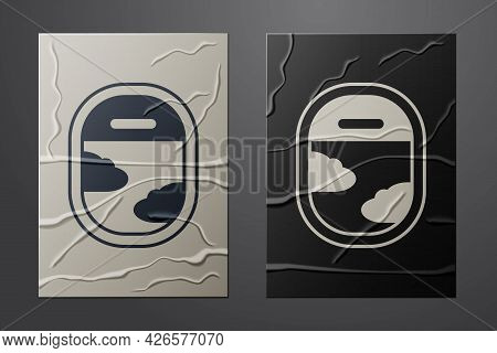 White Airplane Window Icon Isolated On Crumpled Paper Background. Aircraft Porthole. Paper Art Style