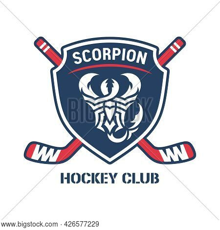 Scorpion Hockey Club Logo. Shield, Two Crossed Hockey Sticks, Text And Graphic Image Of Frightening