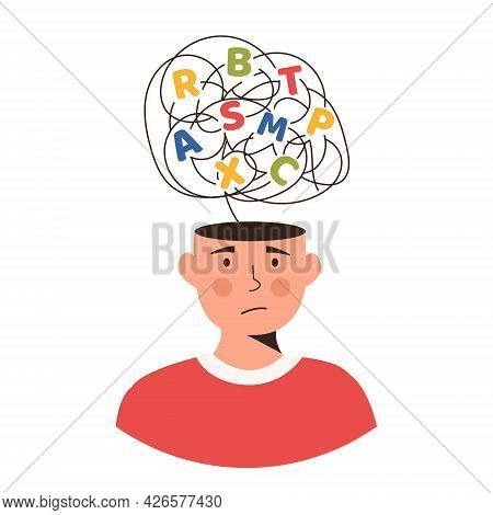 Confused Kid With A Cloud Of Scattered Letters Above His Head. Dyslexia Concept. Failing To Read. Le