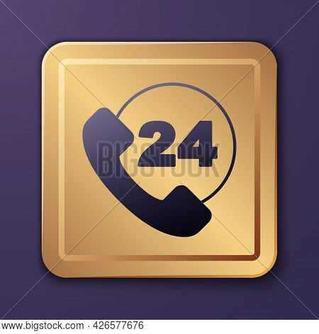 Purple Telephone 24 Hours Support Icon Isolated On Purple Background. All-day Customer Support Call-