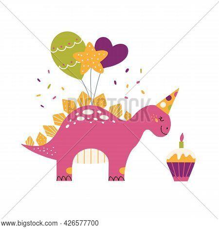 Cartoon Cute Dinosaur For Birthday Party Baby Dino