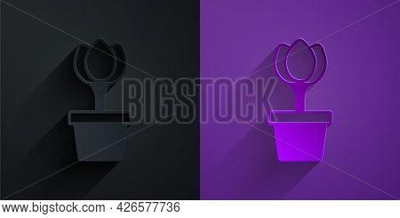 Paper Cut Flower Tulip In Pot Icon Isolated On Black On Purple Background. Plant Growing In A Pot. P