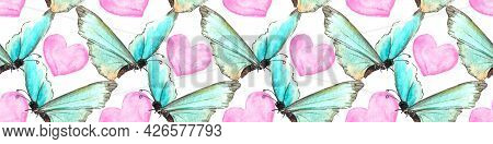 Seamless Pattern Of Blue Watercolor Abstract Translucent Butterflies And Pink Hearts. Hand Drawn Del