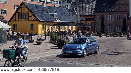 Oslo downtown at day time. Streets,buildings,detales. June 18,2018. Oslo,Norway