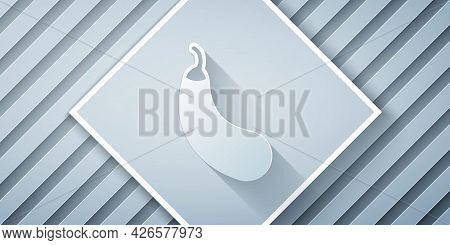 Paper Cut Eggplant Icon Isolated Paper Cut Background. Paper Art Style. Vector