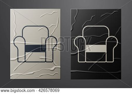 White Armchair Icon Isolated On Crumpled Paper Background. Paper Art Style. Vector