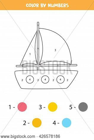 Color Cartoon Yacht By Numbers. Worksheet For Kids.