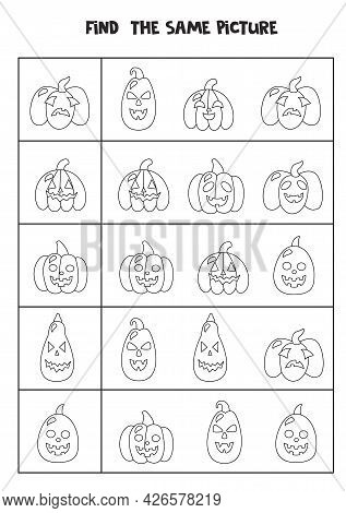 Find Two The Same Halloween Pumpkins. Black And White Worksheet.