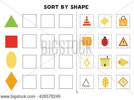 Sort By Shape. Educational Game For Learning Basic Shapes.