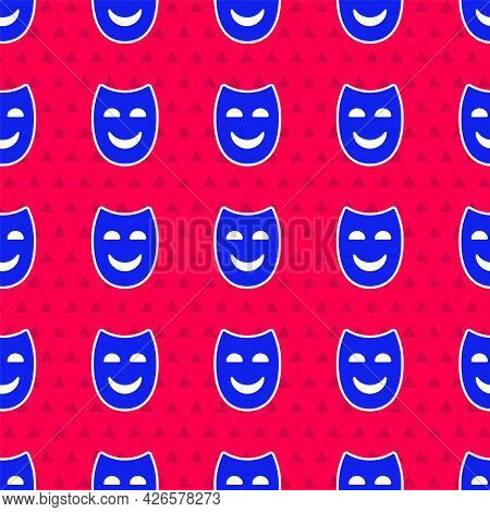 Blue Comedy Theatrical Mask Icon Isolated Seamless Pattern On Red Background. Vector