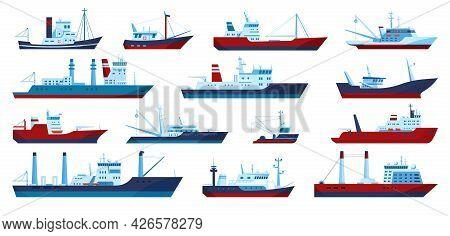 Fishing Boats. Commercial Fishing Trawler Yacht, Fisherman Ship, Fisher Boat. Flat Marine Fish Catch