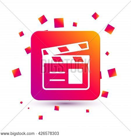 White Movie Clapper Icon Isolated On White Background. Film Clapper Board. Clapperboard Sign. Cinema