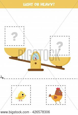 Light, Heavy Or Equal. Cut Pictures Below And Glue To The Right Box.