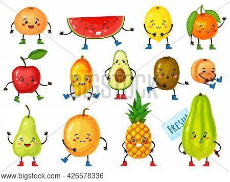Cartoon Fruit Characters. Funny Orange, Pineapple, Apple, Avocado, Lemon With Cute Faces. Happy Smil