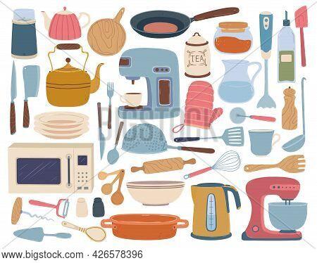 Kitchen Utensils. Cooking And Baking Equipment Toaster, Blender, Wooden Board, Kettle. Flat Cartoon