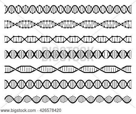Dna Helix Chains. Double Helix Gene Molecule Structure, Human Genetic Code. Dna Chain Molecular Sequ