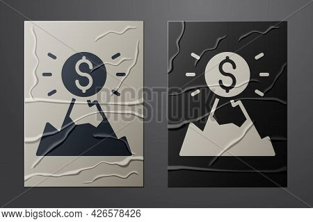 White Mountains With Flag On Top Icon Isolated On Crumpled Paper Background. Symbol Of Victory Or Su