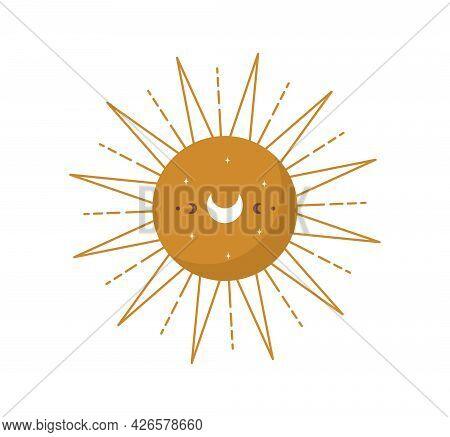 Abstract Aesthetic Boho Sun. Scandinavian Design For Wallpaper And Home Decor. Contemporary Geometri