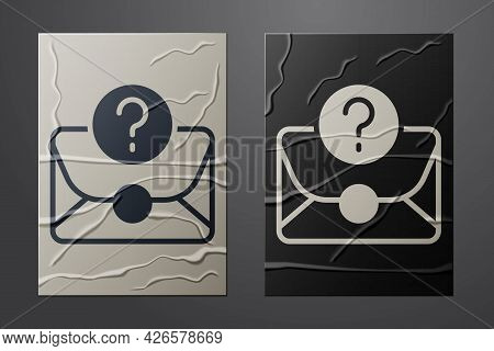 White Envelope With Question Mark Icon Isolated On Crumpled Paper Background. Letter With Question M