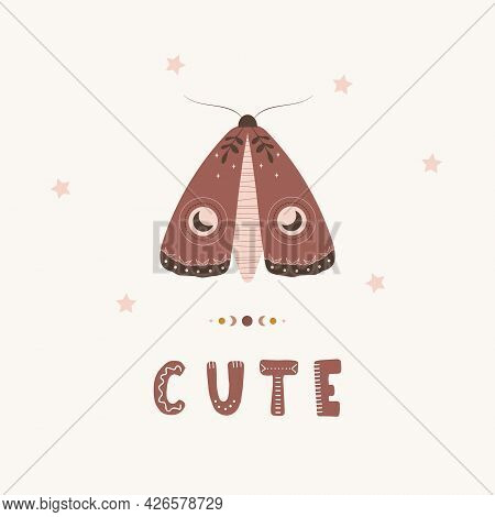 Moth Boho Poster. Insect With Celestial Elements. Scandinavian Design For Children Wallpaper And Hom