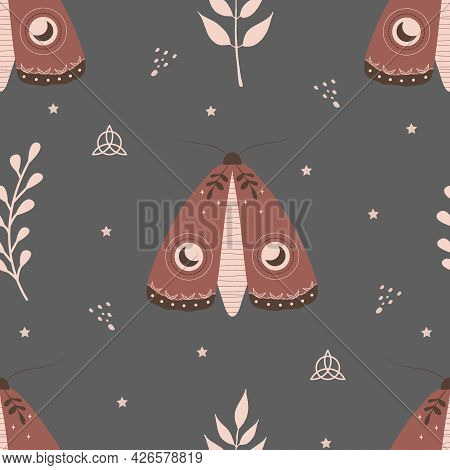 Seamless Pattern With Boho Moth. Insect With Celestial Elements. Witch And Magic Symbol For Textile,