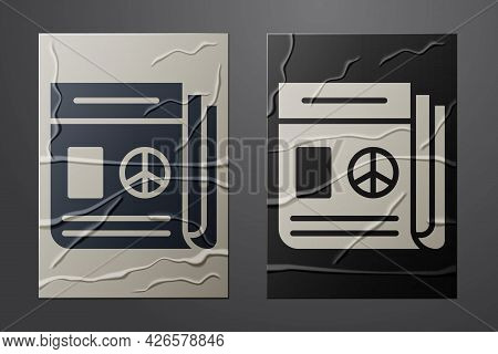 White News Icon Isolated On Crumpled Paper Background. Newspaper Sign. Mass Media Symbol. Paper Art