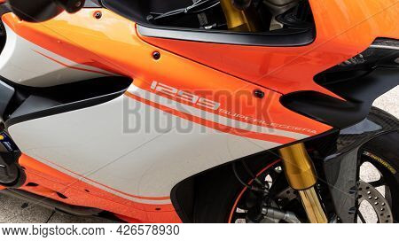 Bordeaux , Aquitaine France - 07 07 2021 : Ducati 1299 Superleggera Motorcycle Detail Side View Raci