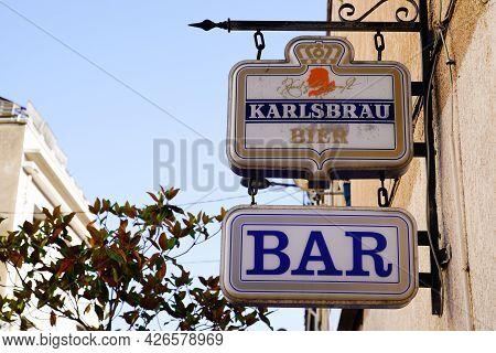 Bordeaux , Aquitaine France  - 07 04 2021 : Karlsbrau Beer Euro Pale Lager Beer Sign Logo On Bar Res
