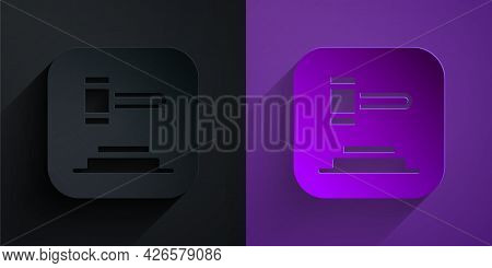 Paper Cut Judge Gavel Icon Isolated On Black On Purple Background. Gavel For Adjudication Of Sentenc