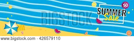 Bright Sale Wide Banner, Template Design With Summer Fruit And Abstract Sea.