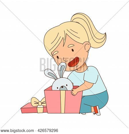 Excited Little Girl Opening Gift Box With Toy Rabbit Rejoicing At Present Vector Illustration
