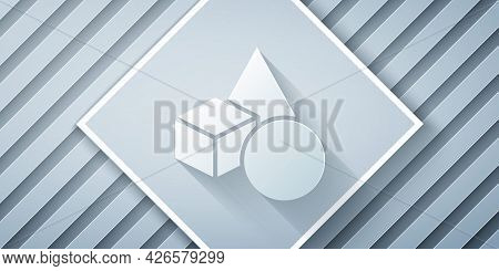 Paper Cut Basic Geometric Shapes Icon Isolated On Grey Background. Paper Art Style. Vector