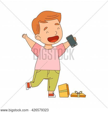 Excited Little Boy Opening Gift Box With Smartphone Rejoicing At Present Vector Illustration