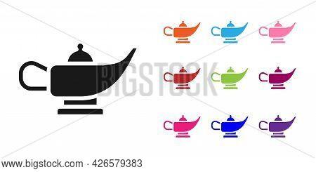 Black Magic Lamp Or Aladdin Lamp Icon Isolated On White Background. Spiritual Lamp For Wish. Set Ico