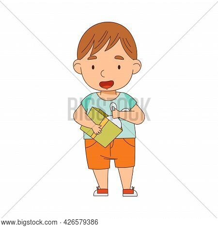 Excited Little Boy Opening Gift Box Rejoicing At Present Vector Illustration