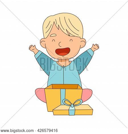 Little Blond Boy Opening Gift Box Rejoicing At Present Vector Illustration