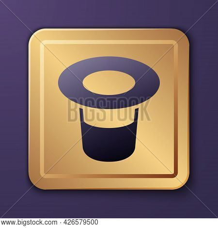 Purple Magic Hat Icon Isolated On Purple Background. Magic Trick. Mystery Entertainment Concept. Gol