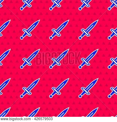 Blue Dagger Icon Isolated Seamless Pattern On Red Background. Knife Icon. Sword With Sharp Blade. Ve