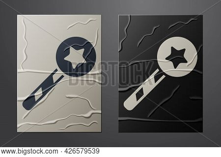 White Magic Wand Icon Isolated On Crumpled Paper Background. Star Shape Magic Accessory. Magical Pow