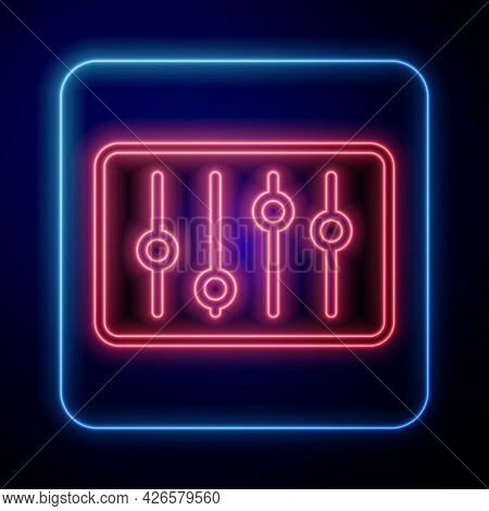Glowing Neon Sound Mixer Controller Icon Isolated On Black Background. Dj Equipment Slider Buttons.