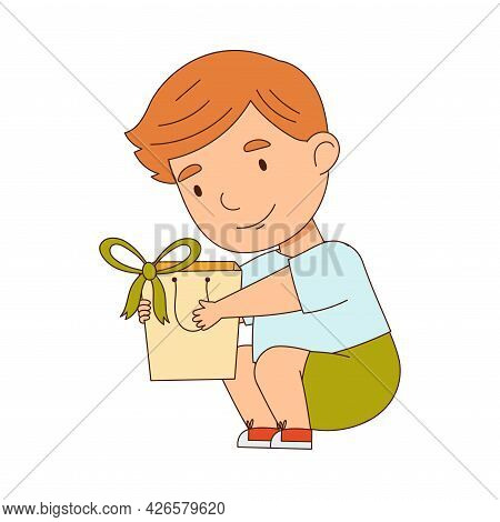 Redhead Little Boy Holding Gift Package As Holiday Present Vector Illustration