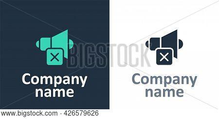 Logotype Speaker Mute Icon Isolated On White Background. No Sound Icon. Volume Off Symbol. Logo Desi