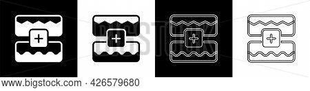 Set Music Wave Equalizer Icon Isolated On Black And White Background. Sound Wave. Audio Digital Equa
