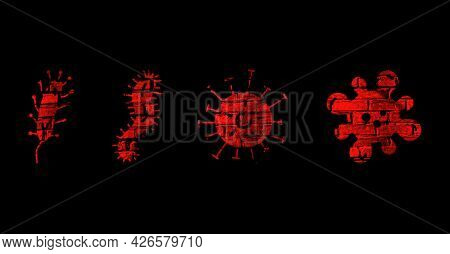 Illustration Of Bacteria And Viruses With A Brick Texture On A Black Background.